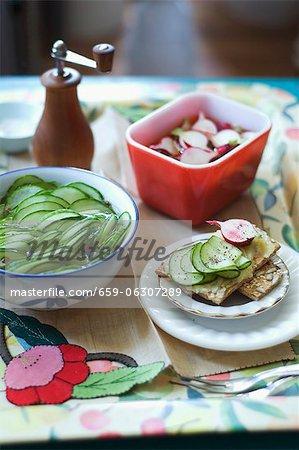 Eingelegte Gurken und Gurken Radieschen in dünne Scheiben geschnitten; Beide Pickles auf Butter Kekse