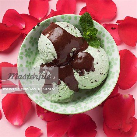 Crème glacée aux pépites de chocolat dans un bol entouré de pétales de rose à la menthe