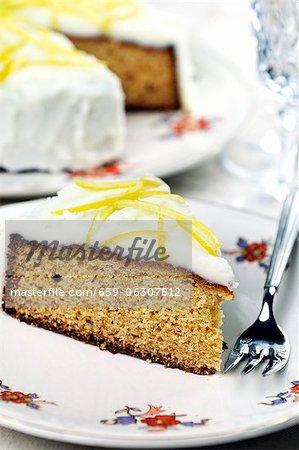 Honey cake with a lemon glaze, sliced