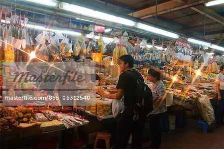 Marché de denrées alimentaires séchées à la Red Market, Macao