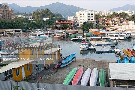 Yachten und Boote festmachen an der Bay, Sai Kung, Hong Kong