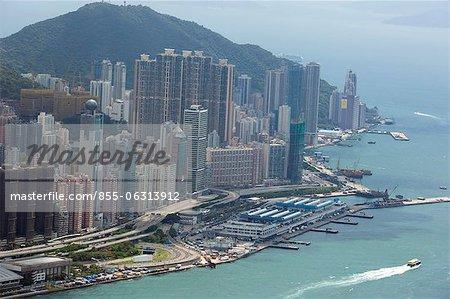 Vogels Auge Schwung des Hong Kong Ostgebiet aus Sky100, 393 Meter über dem Meeresspiegel, Hong Kong