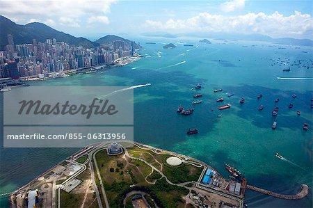 Bird's eye sweep of Hong Kong west from Sky100, 393 metres above sea level, Hong Kong