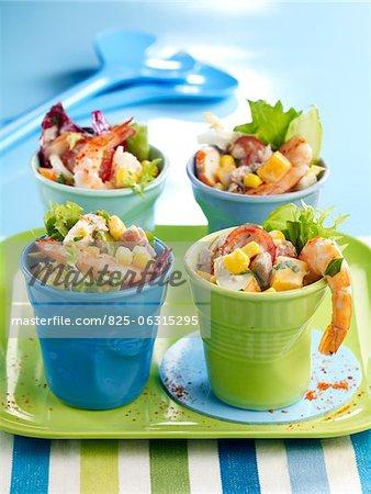 Seafood,Mimolette and sweet corn salad