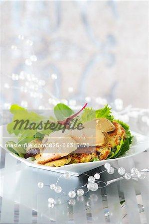 Gâteaux de pommes de terre au mi-cuit de foie gras