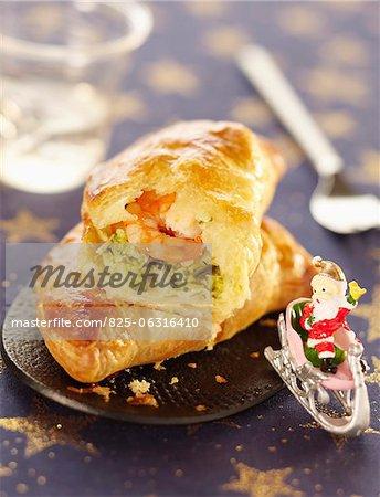 Individual shrimp and broccoli  pies