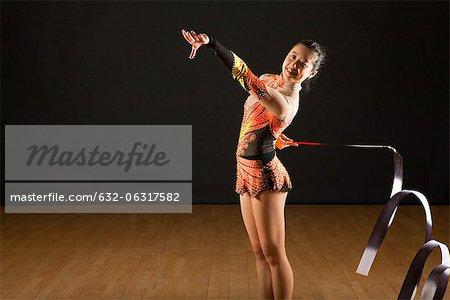 Gymnast twirling ribbon