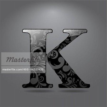 Glossy letter K. Vector illustration