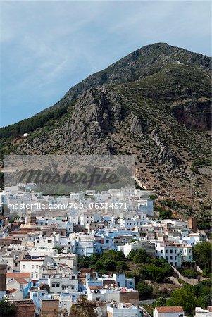Überblick über die Stadt, Chefchaouen, Chefchaouen Provinz Tanger-Tetouan Region, Marokko