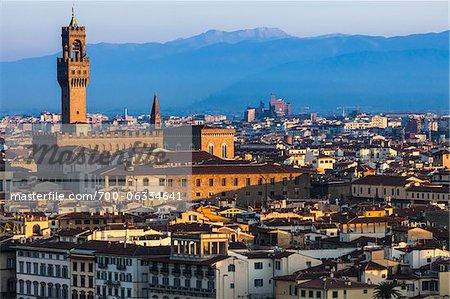 Clock Tower, Uffizi Gallery and City, Florence, Tuscany, Italy