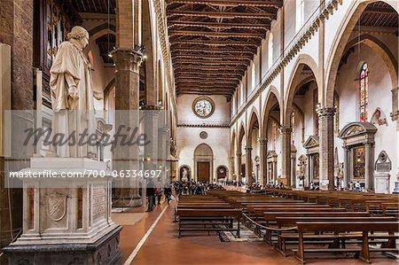 Interior of Basilica of Santa Croce, Piazze Santa Croce, Florence, Tuscany, Italy