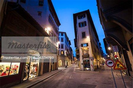 Street Scene at Night, Florence, Tuscany, Italy