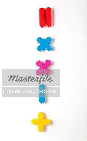 Mathematical symbol fridge magnets