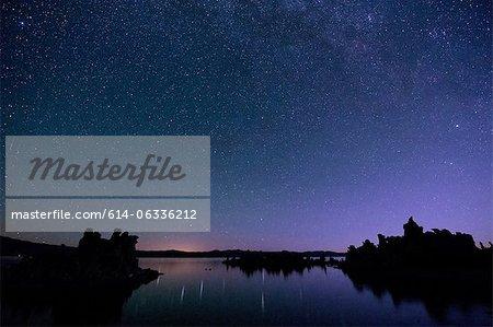 Ciel étoilé à nuit, mono lake, Californie, usa