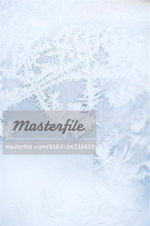 Close up of frozen window