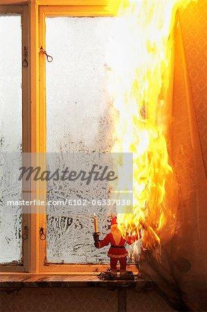 Burning curtain at home