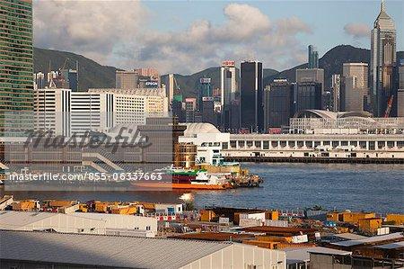Skyline Tsimshatsui et Wanchai de west Kowloon, Hong Kong