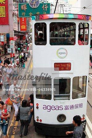 Tram ville exécutant Wanchai, Hong Kong