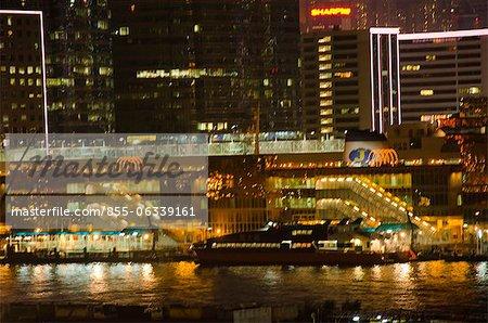 Ferry terminal at night, Tsimshatsui, Kowloon, Hong Kong