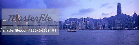 Horizon de Hong Kong depuis Kowloon au crépuscule, Hong Kong