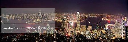 Paysage urbain depuis le pic de nuit, Hong Kong