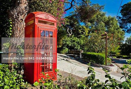 Red telephone box, Alameda Gardens, Gibraltar, Europe