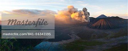 Mount Bromo volcanic eruption sending up an ash cloud, East Java, Indonesia, Southeast Asia, Asia