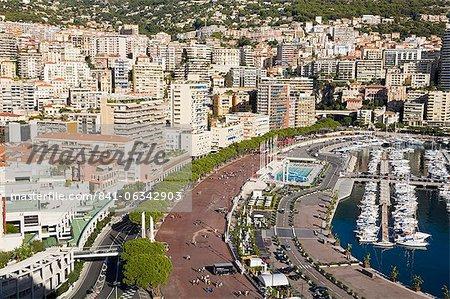 Monte Carlo viewed from Old Monaco, Monte Carlo, Monaco, Mediterranean, Europe