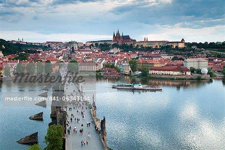 St. Vitus Cathedral, Charles Bridge, River Vltava and the Castle District, UNESCO World Heritage Site, Prague, Czech Republic, Europe