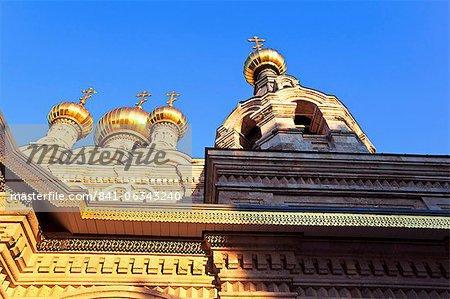 L'église russe de Marie-Madeleine sur le Mont des oliviers, Jérusalem, Israël, Moyen-Orient