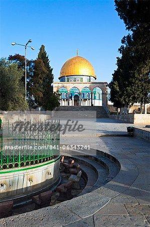 Dôme du rocher et le Mont du Temple, vieille ville, UNESCO World Heritage Site, Jérusalem, Israël, Moyen-Orient
