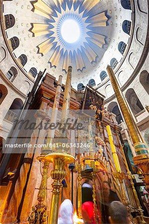 Intérieur de l'église du Saint-Sépulcre, vieille ville, l'UNESCO World Heritage Site, Jérusalem, Israël, Moyen Orient