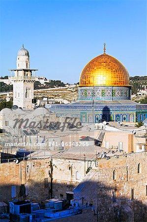 Dôme du rocher, Mont du Temple, vieille ville, patrimoine mondial UNESCO, Jérusalem, Israël, Moyen-Orient