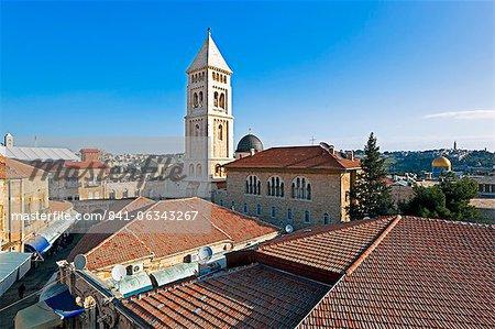 Vue sur l'église du Rédempteur, Jérusalem, Israël, Moyen-Orient