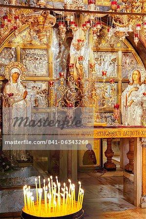 Golgotha, lieu de la Crucifixion, l'église du Saint-Sépulcre, vieille ville, l'UNESCO Site du patrimoine mondial, Jérusalem, Israël, Moyen-Orient