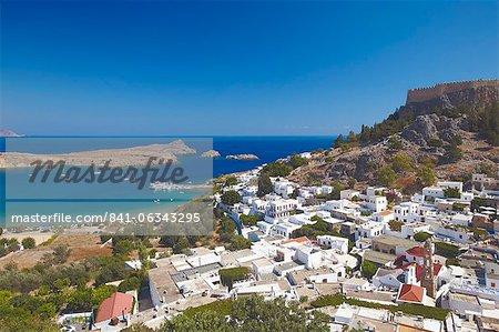 Lindos und Akropolis, Dodekanes, Rhodos, griechische Inseln, Griechenland, Europa