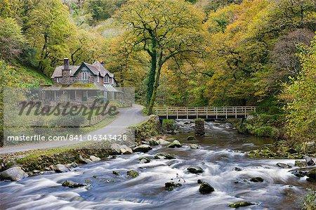Watersmeet House in autumn, Exmoor National Park, Devon, England, United Kingdom, Europe