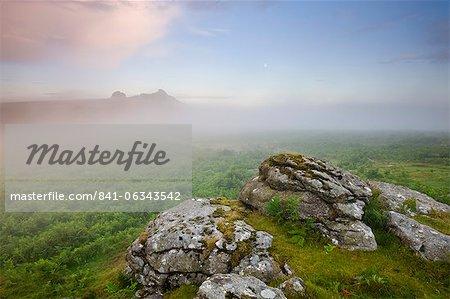 Mist hanging over the moorland near Haytor, Dartmoor National Park, Devon, England, United Kingdom, Europe