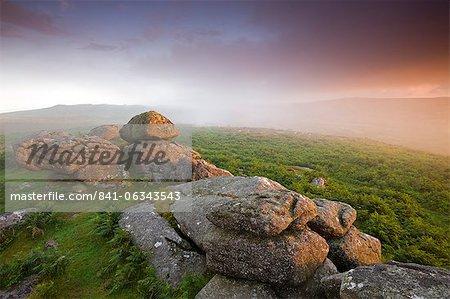Sunset and misty conditions on the moorland near Haytor, Dartmoor National Park, Devon, England, United Kingdom, Europe