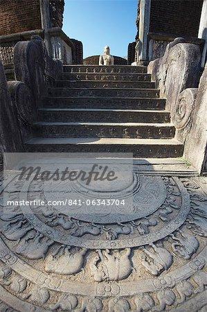 Vatadage, Quadrangle, Polonnaruwa, Site du patrimoine mondial de l'UNESCO, Province centrale du Nord, Sri Lanka, Asie