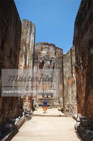 Tourisme à Lankatilaka, Polonnaruwa, Site du patrimoine mondial de l'UNESCO, Province centrale du Nord, Sri Lanka, Asie