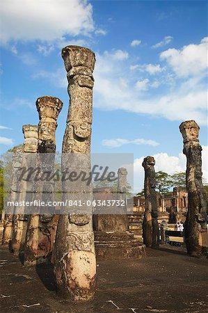 Lotus Mandapa (lamine Mandapaya), Quadrangle, Polonnaruwa, patrimoine mondial de l'UNESCO, Province centrale du Nord, Sri Lanka, Asie