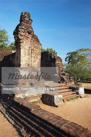Ruines de Potgul Vihara, Sud, Polonnaruwa, Site du patrimoine mondial de l'UNESCO, Province centrale du Nord, Sri Lanka, Asie