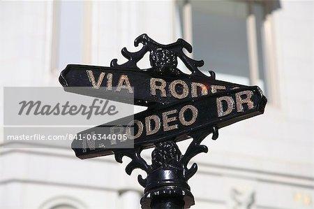 Panneau de signalisation, Rodeo Drive, Beverly Hills, Los Angeles, Californie, USA