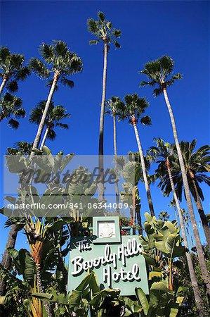 Signer pour un hôtel de Beverly Hills, Beverly Hills, Los Angeles, Californie, USA