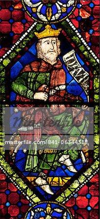 Vitrail médiéval du roi David, ancêtres ou généalogie du Christ, fenêtre Sud, cathédrale de Canterbury, patrimoine mondial de l'UNESCO, Canterbury, Kent, Angleterre, Royaume-Uni, Europe