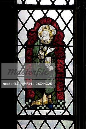 Vitraux médiévaux dans la chapelle d'Édouard le confesseur, cathédrale de Canterbury, patrimoine mondial de l'UNESCO, Canterbury, Kent, Angleterre, Royaume-Uni, Europe