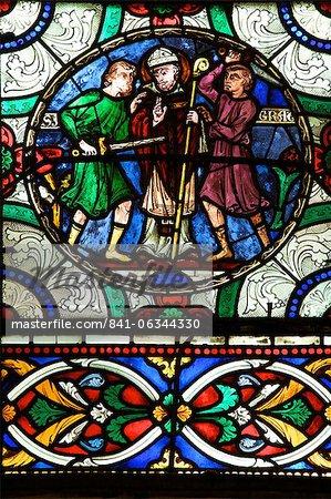 Vitrail médiéval décrivant le meurtre de Saint Thomas un Becket, cathédrale de Canterbury, patrimoine mondial de l'UNESCO, Canterbury, Kent, Angleterre, Royaume-Uni, Europe