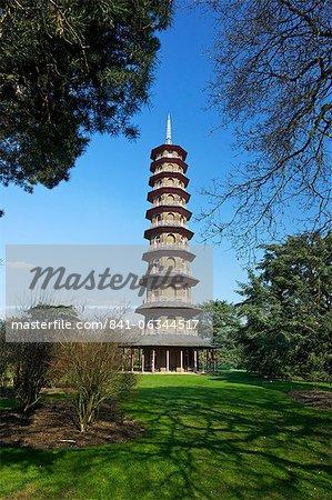 Pagode japonaise, Royal Botanic Gardens, Kew, patrimoine mondial de l'UNESCO, Londres, Royaume-Uni, Europe