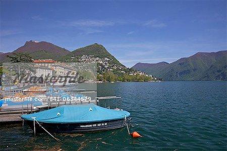 Lakeside in sunshine, city of Lugano, Lake Lugano, Ticino, Switzerland, Europe